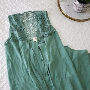 Green Long Lace Vest